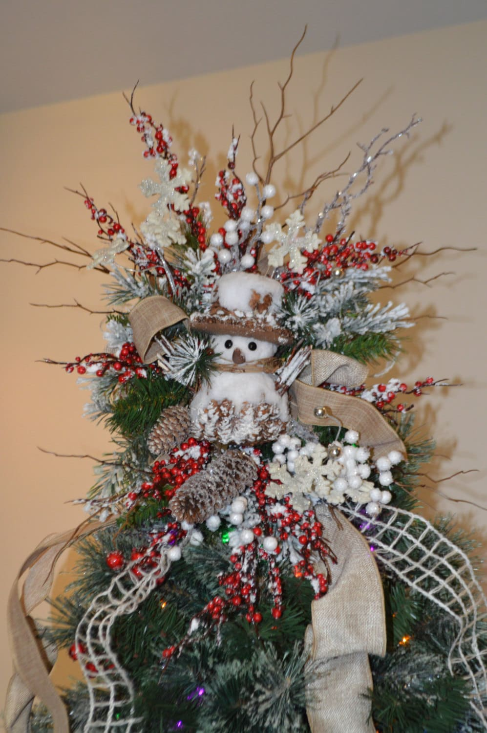 rustic snowman tree topper snowman tree topper christmas. Black Bedroom Furniture Sets. Home Design Ideas