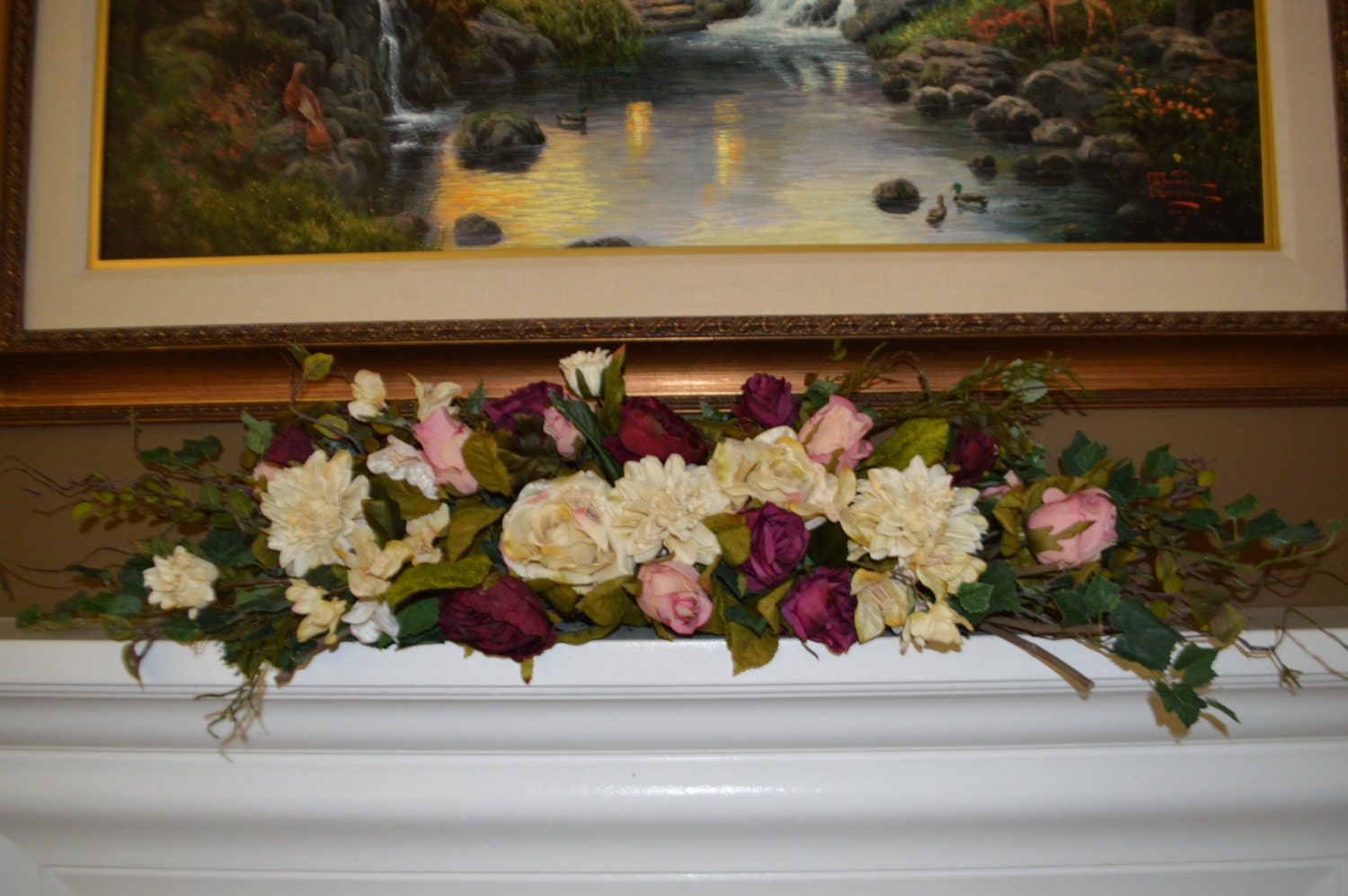 mantle swag floral swag fireplace swag wall by thebloomingwreath