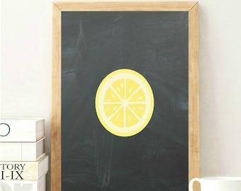 Lemon Wall Art Lemon Wall Print Lemon Kitchen Decor Lemon Wall Decor