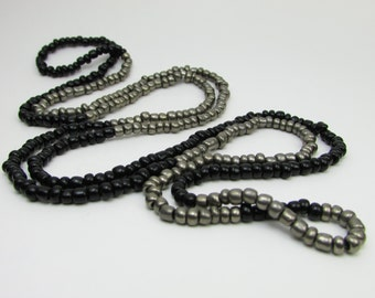 Long Beaded Black & Silver Necklace