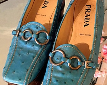 Prada Shoes Ostrich Skin Shoes 90s Prada Couture Turquoise Ostrich Sterling Silver Shoes