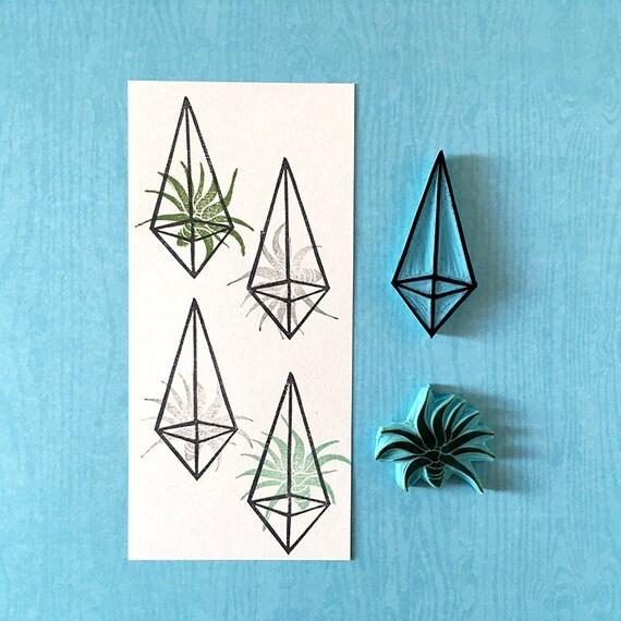 Geometric terrarium rubber stamp hand carved cactus air