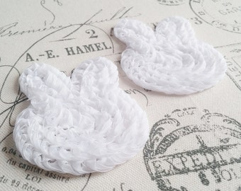 "White 3"" Chiffon Shabby Bunnies - Set of 2 Pre-Cut - Headband, Hair Clips, Sewing, Scrapbook Embellishments - Easter Bunny, Rabbit"