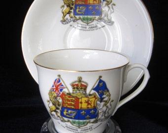 1927 Diamond Jubilee of Canadian Confederation - Aynsley Fine Bone China Teacup & Saucer