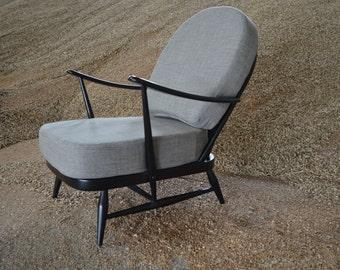 Super Stylish Black Ercol 203 Windsor Armchair with New Grey Cushions