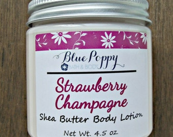 Strawberry Champagne Lotion, Shea Butter Body Lotion, Body Butter, Thick Lotion for Body, Womens Skin Care, After Shower Lotion Moisturizer