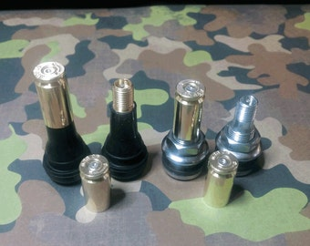 Tire Valve Stem Caps, Real .40 S&W Brass Bullet Casings with spent Nickel (Silver) primers installed. Full set of 4 caps