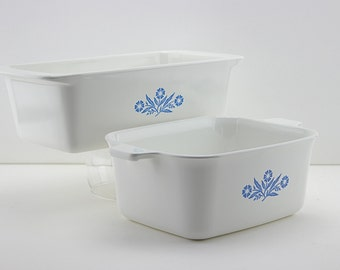 Cornflower Blue Corning Ware Loaf Pan and Rectangular Casserole P-315 P-4-B Set of 2