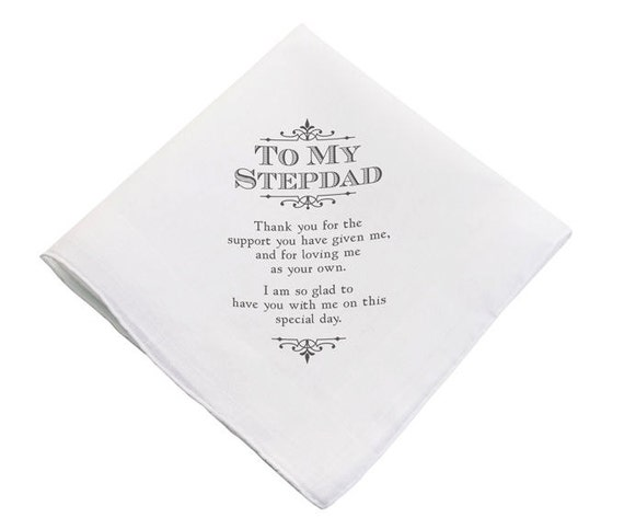 Wedding Gift For Mom And Stepdad : Wedding Hankie For Stepdad Wedding Gift For Stepfather Of The Bride ...
