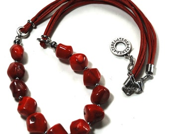 Natural red coral nuggets necklace with red leather cord and stainless steel chain & clasp