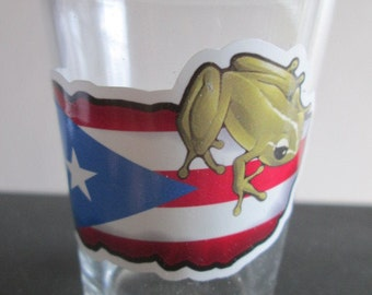 Puerto Rico Map Flag with Coqui Shot Glass Boricua Coqui Frog