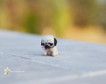 tiny pug dog. 4 cm.sold. made to order 4 days.