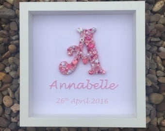 Baby Girls Personalised Letter Picture Various Colours Unique Gift for Newborns or Christening Handmade ANY LETTER