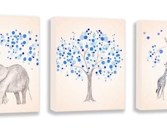 Baby Boy Nursery Decor, CANVAS Art, Kids Wall Art, Elephant Nursery Art, Elephant Watercolor Art, Giraffe Nursery Decor - S014B