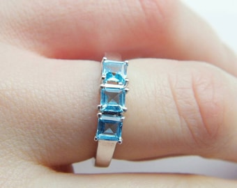 SALE Electric Blue Topaz Sterling Silver Ring Certified Size 7 (N)