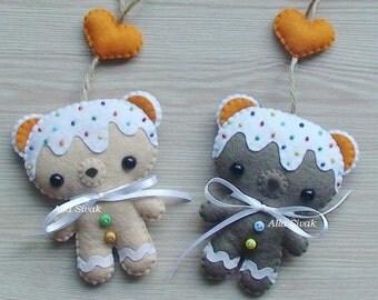 Sweet bear, Rainbow Sugar, Gingerbread Cookie Bear Felt Ornament, Christmas ornaments, Christmas Cookie ornament, Cute Christmas gift