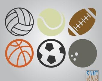 Colored Sports Balls SVG, Volleyball, Baseball, Football, Basketball, Soccer, Bowling