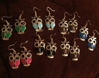 Candy Color Enamel Owl Earrings ~ Your choice of color ~