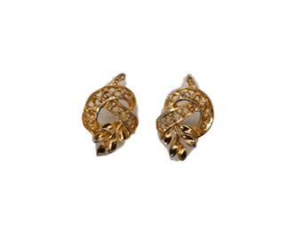 Vintage Gold Leaf Motif Earrings