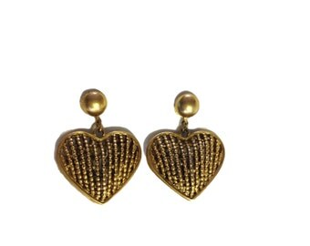 Gold Plated Heart Drop Earrings