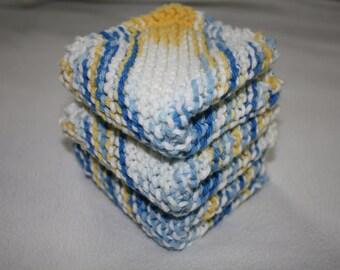 Knit Dish Cloth Set of 3, Blue Knit Dish Cloth, Yellow Knit Dish Cloth, Knit Wash Cloth