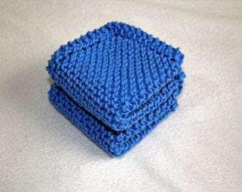 Knit Dish Cloth, Set of 2, Blue Knit Dish Cloth, Blue Knit Wash Cloth