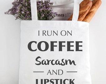 I run on Coffee, sarcasm and coffee - prosecco cream tote bag