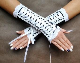 Elegant GOTHIC VAMPIRE Victorian Burlesque Glamour  fingerless GLOVES, mittens, armwarmers, black and white fabric, binding