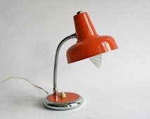 1960s lamp, midcentury lighting, orange enamel metal light, mid century desk lamp, beside lamp, vintage french decor