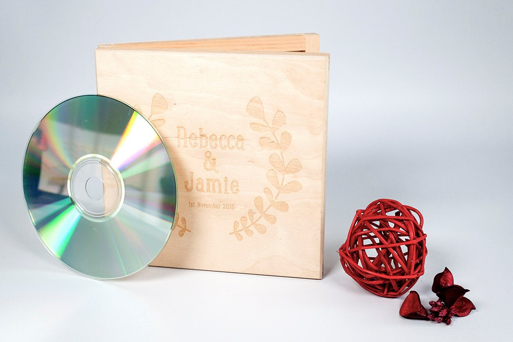 Personalised Wooden CD case Wedding CD Music Video Wedding