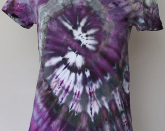 Tie Dye tee shirt ice dyed v neck shirt size Small - Twilight Twist