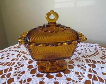 Indiana Glass, Vintage Glass, Wedding Box, Amber Compote, Open Lace Compote, 1960's, Amber Glass Compote, Candy Dish, Pedestal Candy Dish