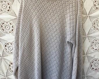 Vintage 80's Crochet Cream OVERSIZED Sweater by HAROT size 10