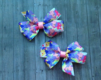 Care Bears Hair Bows // Set of 2 // Bows // Pigtail Bows // Care Bears