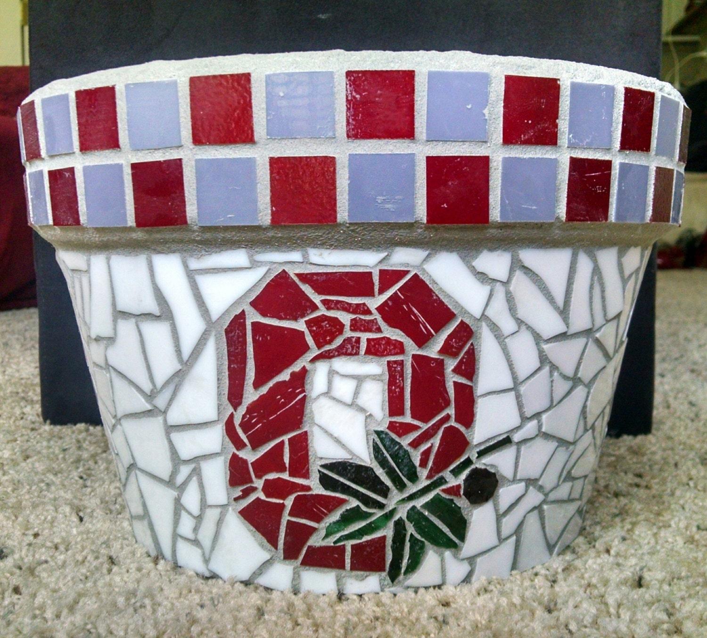 Ohio State University Mosaic Flower Pot Planter by ManyMosaic