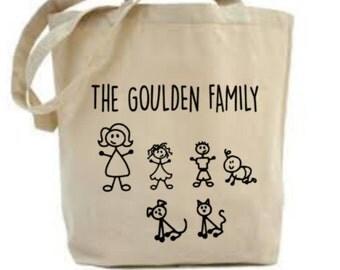 Stick Family Bag, Bespoke Family Gift, Gift For Mom Mum, Custom Tote Bag, Gift For Grandma, Stick People Family, Bespoke Family