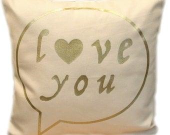 "Love You Pillow, Love Heart Valentine Design Cushion Pillow, 12"" or 16"", Decorative Pillow, Custom Pillow, Home Decor, Throw Pillow."