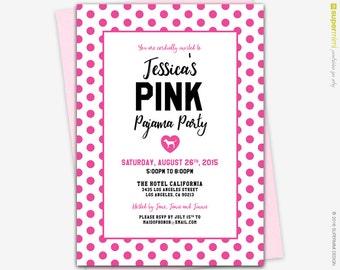 Victorias Secret Pink Polka Dots Theme Lingerie Bridal Shower Invitation / Customized Digital Printable File