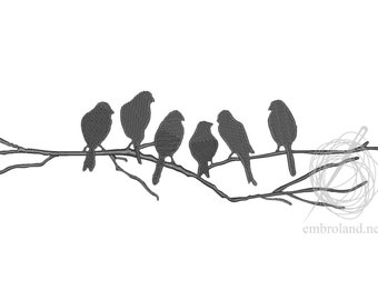 Birds - Machine Embroidery Design - Instant Download - Five sizes