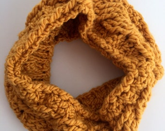 Yellow Cable Crocheted Infinity Cowl