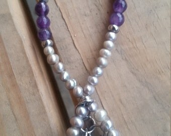 15 % off 99.99, Fresh water pearl amethyst necklace, amethyst boho necklace, pearl bridal necklace, pearl boho necklace
