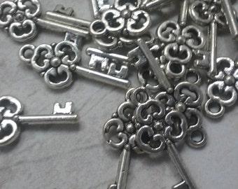 10 Key charms, silver alloy key charms, set of key charms, wholesale key charms, bulk key charms