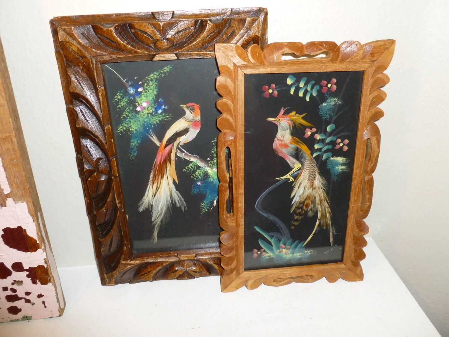 Vintage Lot Of Two Mexican Feather Art Pictures From The
