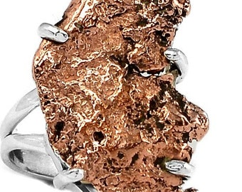 Handmade Pure Copper Nugget Ring set in 925 Sterling Silver ~ Hallmarked ~ Conductor of Energy ~ One Of A Kind Piece ~ Nature's Own Beauty