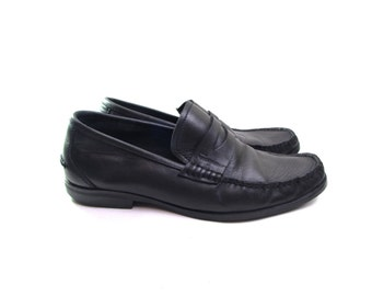 SALVATORE FERRAGAMO shoes mens penny loafers soft leather shoes minimalist shoes black loafers rubber soles designer shoes mens size 8 40
