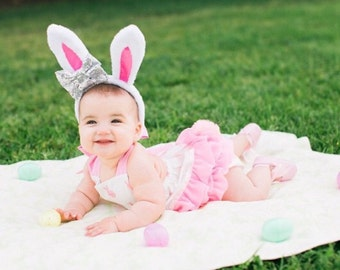 White and pink bunny dot Easter romper with optional bunny tail