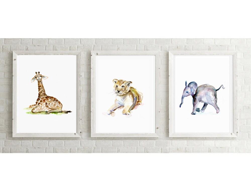 3 baby dieren poster prints giraffe aquarel leeuwtje - Schilderij voor meisje slaapkamer ...