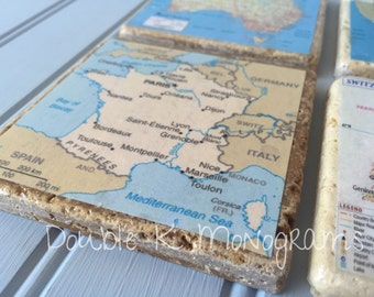 Custom Map Coasters / personalized City, State or Country Coasters / Set of 4,5 or 6 Coasters/ Wanderlust Home Decorations