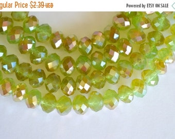 25% off SALE Light Green, Half Coat Metallic Crystal Beads, Chinese Crystal, Faceted Crystal Rondelle Beads, Green, Bronze 8x10mm, 12 beads,