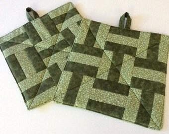Sage Green Potholders Handmade Insulated Quilted Green Hot Pads
